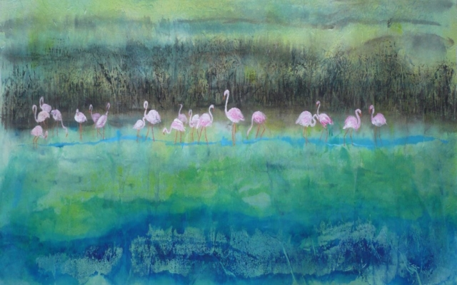 Flamingoes on a lake - Chinese brush painting classes