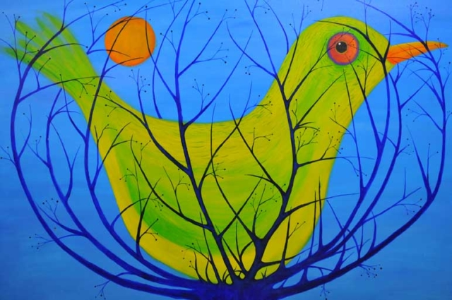 Bird in a cage acrylic on canvas