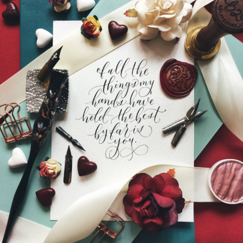 Modern Calligraphy Workshop Valentine's Day Theme at Heartroom Gallery